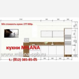 1 - Проект кухни #1 #кухня белая с деревом #кухня с островом #кухня с барной стойкой #большая кухня в стиле модерн #кухня без ручек #ручки-профиль